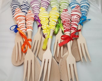 Wooden cutlery and ceramics