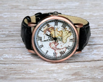 World map watch etsy black leather wrist watch world map watch woman leather watch world map travel gumiabroncs Images