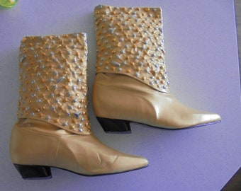 NOS Vintage Gold Lame Silver Sequin Fantasy Collection Boots 9.5  - New in box!
