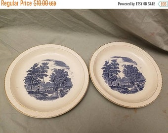 "Pair of Royal Tudor ware Olde england Richmond Blue transferware 10"" Dinner plates Coaching scenes"