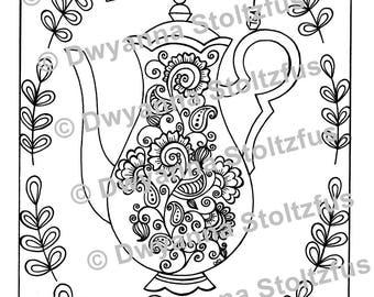 I Love Tea Coloring Page PDF