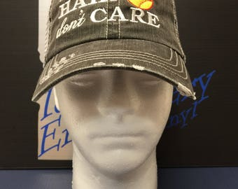 softball hair don't care trucker hat, Idaho Embroidery, trucker embroidered hat, custom hat, embroidered hat, personalized hat, baseball,