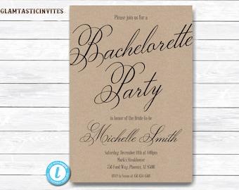 Bachelorette Invitation, Bachelorette Party Invitation, Bachelorette Template, Kraft Invitation Template, Template, YOU EDIT, Templett, DIY