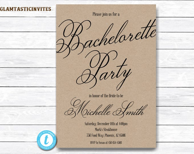 Bachelorette Invitation, Bachelorette Party Invitation, Bachelorette Template, Kraft Invitation Template, Template, YOU EDIT, Templett, DIY