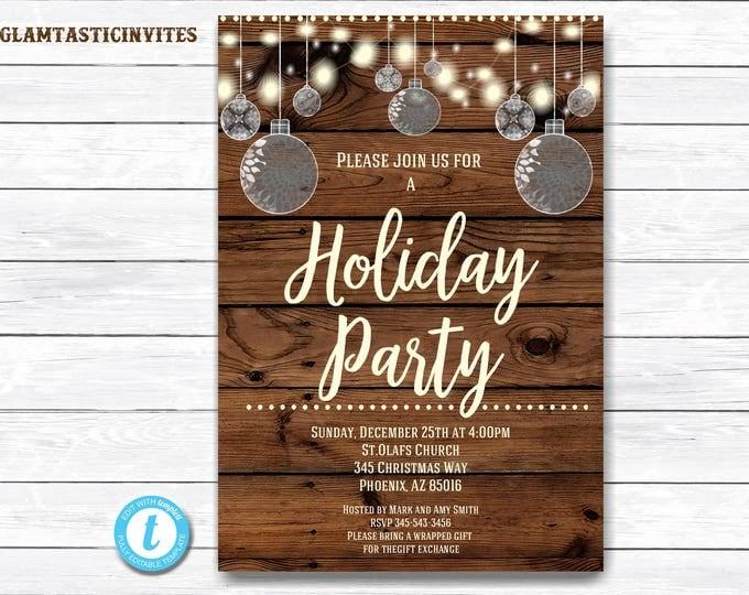Christmas Invitation, Rustic Christmas Invitation, Rustic Holiday Party Template, Christmas Party Template, Holiday Party Invite, Rustic