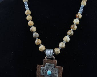 Mission Style Cross on Picture Jasper Necklace