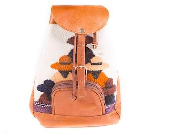 Vintage Multi Colour Woven & Cognac Leather Backpack, Travel Bag