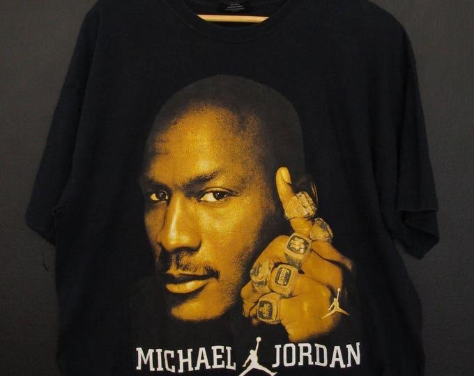 Michael Jordan rings air jordan 1990's Vintage Shirt