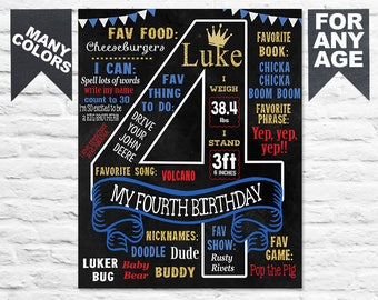 Printable 4th birthday Chalkboard sign with crown royal princess or prince chalk board poster banner (364)
