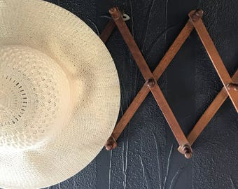 accordion hat rack, vintage coat rack, wooden coat rack, vintage folding peg rack, wall decor, boho decor, accordion, extendable hat rack