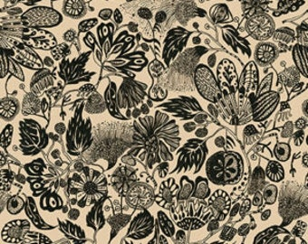 1/2 yd Floral Waterfall Woodcut by Shannon Newlin for Free Spirit PWSN003.8TANX