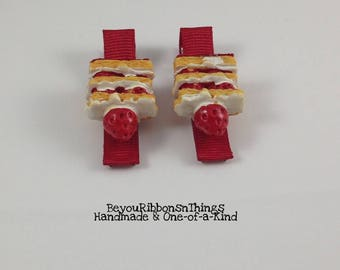 Strawberry Cake | Hair Clips for Girls | Toddler Barrette | Kids Hair Accessories | Red Grosgrain Ribbon | Flatback| No Slip Grip