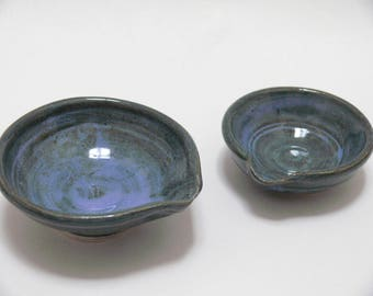 Blue stacking mini food prep bowls, ceramic bowls,teabag rest, ring dish,kitchen prep bowls, SierraAvisPottery