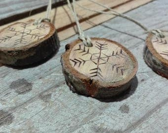 Rondelle wood pyrography snowflakes