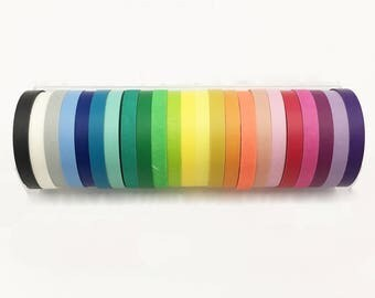 Solid Rainbow Thin Washi Tape Full Set, Card Scrapbooking Tape, Gift Wrapping Tape, Rainbow Washi Set // Set of 24 //CR-W-ST009