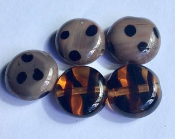 Coffee Kazuri Glass Beads - Fair Trade from Kenya - Pack of 5 Beads Size 15cm approx