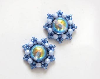 Round blue flake pale blue studs, beaded baby blue studs, modern light blue earrings, blue snowflake earrings, winter earrings