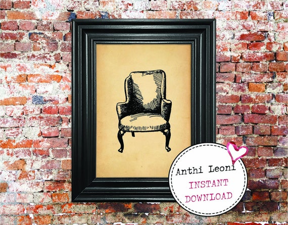 Antique Chair Instant download   Vintage Old Paper Print Design   Old Chair Book Page Illustration   Just Download and Print #0005