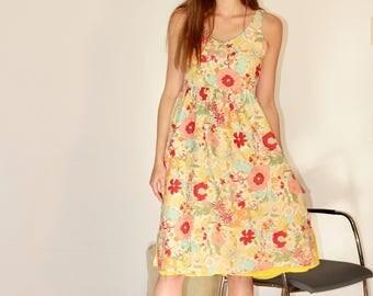 Cotton and silk dress, summer dress, natural silk dress, natural cotton dress, cotton clothing.