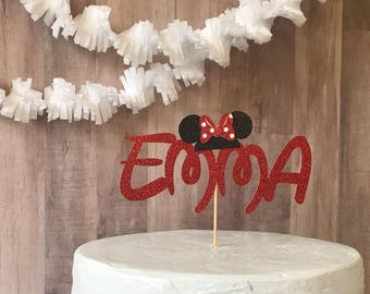 Disney inspired cake topper/minnie mouse cake topper/custom cake topper/birthday party/girl birthday