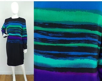25%OFF-July 22-25 Vintage 1980s Anne Crimmins Striped Dress Size Large, Black Blue & Green Dress, Striped Dress. Silk Dress, Sheath Dress, L