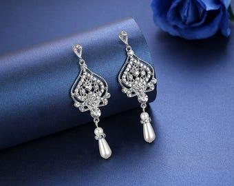 Wedding Chandelier Bridal Earrings Crystal Wedding Jewelry Pearls Teardrop Bridesmaid earrings Gift