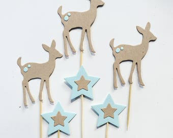 12 cupcake toppers Baby fawn and stars Woodlands Party