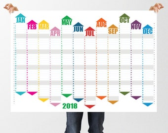Large Printable 2018 Wall Planner, Full Year Digital Calendar, 8 PDF sizes inc A1, A2 & 17x22, Organizer, 12 Month Instant Download