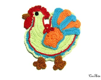 Colorful crochet rooster potholder, Presina gallo colorata ad uncinetto