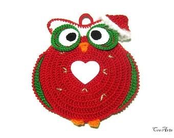 Red Christmas crochet owl potholder, handmade potholder, presina gufo di Natale all'uncinetto