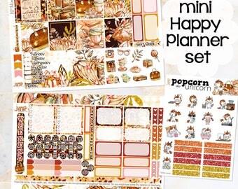 Golden Leaves Fall Autumn set / kit weekly stickers - Happy Planner Mini - glitter glam leaves woods September October November