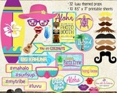 Photo Booth Props, HAWAIIAN LUAU BIRTHDAY, party, printable sheets, instant download, surf, island, snorkel