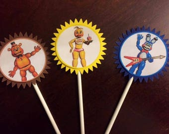Five Nights at Freddy's Cupcake Toppers, Five Nights at Freddy's Birthday Party, Five Nights cake topper, Video Game Party