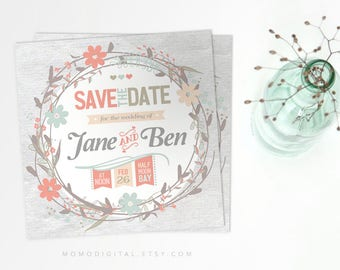 Save The Date, Coral Teal, Spring Invitation, Floral Wreath, Digital Invitation Card, Downloadable File, Pink Blue Beige, Grey, Love Card