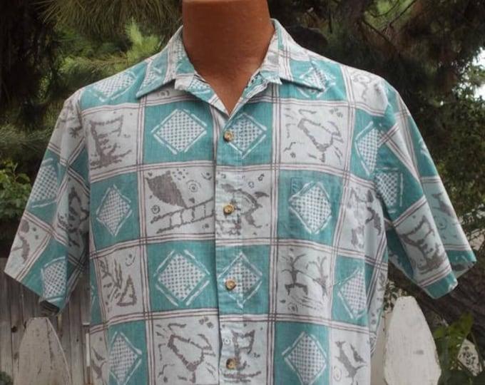 Vintage 90s Mens Cooke Street Honolulu Green White Cotton Geometric Reverse Print Short Sleeve Hawaiian Shirt S/M