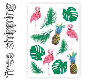 "Temporary tattoos ""Tropic"". Tropical kids body stickers with pineapple, fruit, pink flamingo, bird, palm leave, monstera leaf TA054"