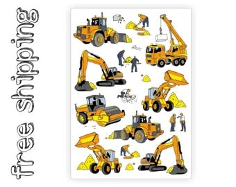 "Temporary tattoo set ""Cunstruction"" with crane, builder, excavator, asphalt paver, bulldozer kids body stickers in doodle style. TA060"