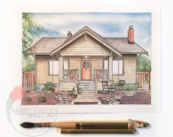 "6""x8"" Custom Watercolor House Illustration"