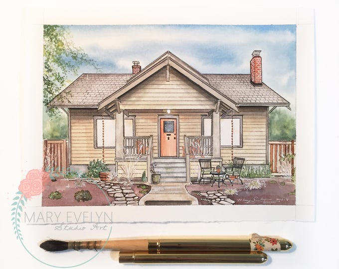 """Featured listing image: 6""""x8"""" Custom Watercolor House Illustration"""