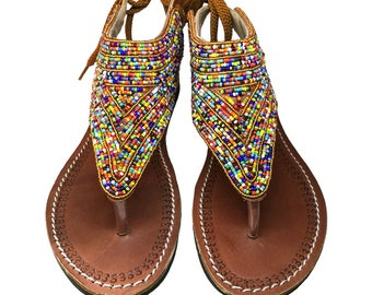 Leather Sandals, African sandals, Maasai sandals, Beaded sandals, Kenyan sandals,  Handmade sandals, summer shoes, sandals, strappy sandals