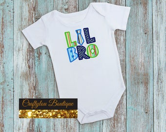 Lil Bro Tie, Little Brother Embroidered Toddler T-shirt, Embroidered T-shirt, Baby Shower Gift, Custom