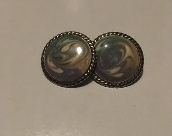 Purple, Green, Cream and White Swirl Earrings