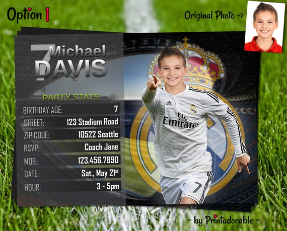 Soccer Invitation - Real Madrid Invite - Football Birthday Party - Digital Invite with customizable face and team - Choose your team!