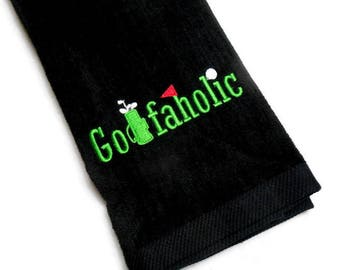 Golf towel, gift for him, Golfaholic, embroidered towel, custom golf towel, funny towel, birthday man, Father's Day gift, mens golf, custom