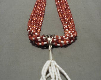 Rare Santo Domingo Coral Bead White Heishi Jacla Necklace