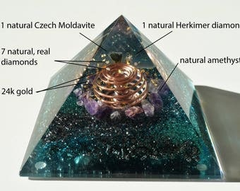 "Most powerful third eye and crown chakra opening combination! Orgone pyramid (4.7"" 12cm) Diamonds, Herkimer, Moldavite, Amethyst organite"
