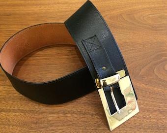 Black Leather Belt - Large Band