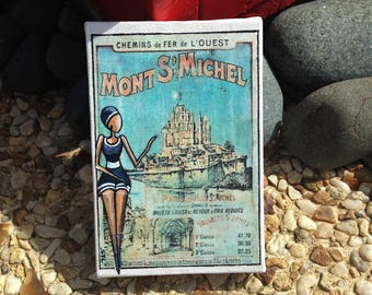 The Mont St michel bather painting acrylic sea retro poster