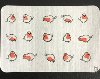 Postcard, greeting card, original watercolor, Robin, is handmade, robin watercolor handmade postcard