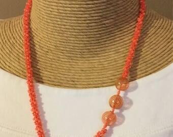 Orange Peach Hand-blown Glass Beaded Crocheted Necklace
